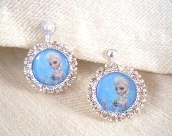 Clip On OR Pierced Earrings Frozen Princess Elsa Earrings Halloween Costume Dress Up
