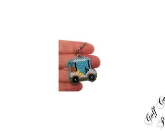 Golf Cart Beading PATTERN, Seed Bead Digital Pattern, Brick/Peyote Stitch Graph