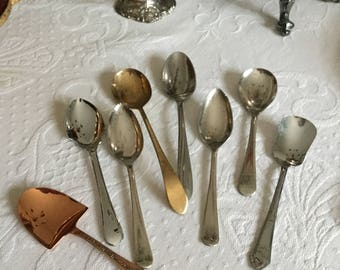 Lot of Eight Assorted Serving Spoons-Various Uses-Grapefruit/Cheese/Cereal