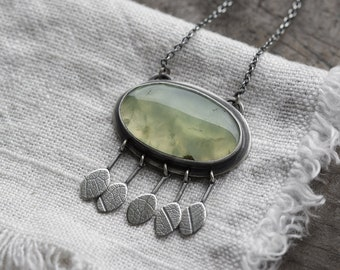 Telperion Necklace ( soft green prehnite gemstone pendant. antique sterling silver. oxidized branch silhouette. green nature jewelry )