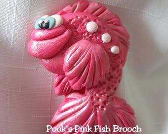Fish Brooch, Pink Fish Brooch, Pink Fish Brooch by Pook Designz