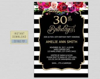 30th birthday invite etsy 30th birthday invitation filmwisefo