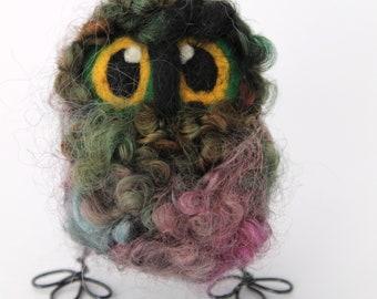 Owl Baby, Felt Bird, Elf Needle Felted OOAK Owl Baby in Hand Dyed Wensleydale Wool