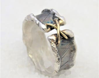 Man band rustic ring, oxidized silver ring.