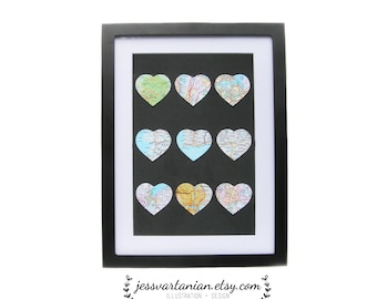 Nine Places We Love Map Hearts in a Black Frame & Black background