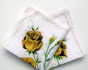 Pair of Vintage Floral Cotton Lawn Handkerchiefs - Dainty Ladies' Hanky