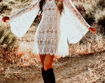 Bell Sleeves Sheer Lace Angel Sleeves Hippie Boho festival Tunic Mini Dress Saldana Vintage