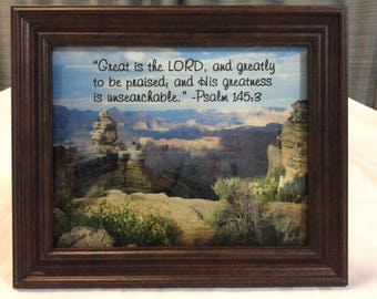 Grand Canyon photo, framed,  with Bible Verse