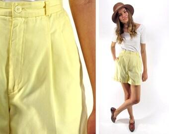 SALE - 80s High-Waist Pleated Shorts, Tailored Shorts, Boxy Shorts, Yellow Shorts, Preppy, Minimalist Shorts Δ size: sm