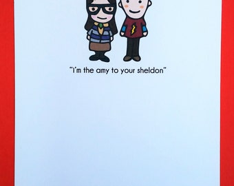 Amy and Sheldon Love Greeting Card