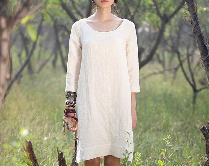 ON SALE/Size38/Ready to ship/Women long dress - Long sleeves Dress - Linen dress