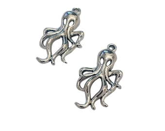 4 Octopus Charms | Silver Octopus Charm | Steampunk Octopus | Silver Octopus | Kraken Charm | Cthulhu | Ready to Ship USA | AS450-4