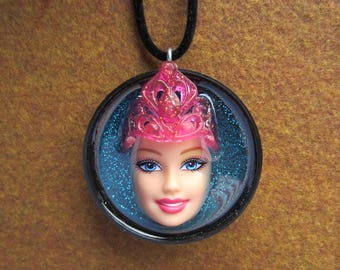 Upcycled Barbie Doll Pendant - Queen Pink