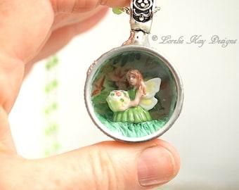 Captured Fairy Faerie Necklace Soldered Glass Box Miniature Diorama Tiny Green Dress Fairy Glass Pendant