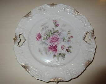 ANTIQUE FLORAL PLATE with Heart Handles