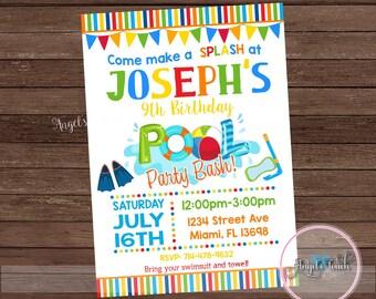 Pool Party Invitation, Pool Birthday Invitation, Pool Birthday Party Invitation, Boys Pool Party Invitation, Pool Party, Digital File.