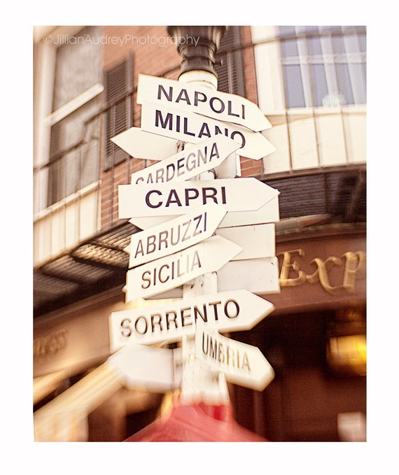 Italy City Signs Photograph Street Signs Boston Photography