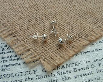Set of 5 pairs of stud earrings 6mm silver Metal semicircle