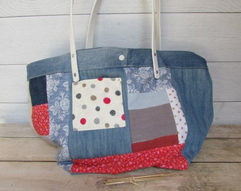 Hand bag patchwork tote bag in linen and cotton recycled jeans bag summer - 26 x 40 x 20 cm - 241