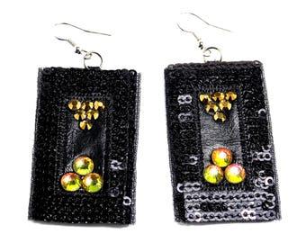 Christmas party earrings  Black earrings  Gold crystal earrings  Black chandelier earrings  Christmas Gift  Black earrings with crystals