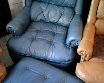 Vintage Tufted Blue Leather Chesterfield Chair And Ottoman