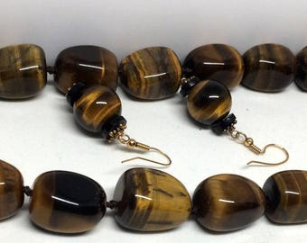 SALE - ESTATE: Tigers Eye Necklace and Earrings