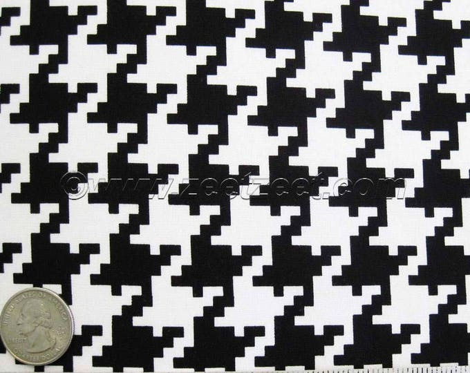 "Michael Miller LARGE HOUNDSTOOTH Black & White - Graphic Cotton Quilt Fabric - 29"" Remnant or Fat Quarter Fq"