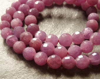 8 Beads - Untreated Pink Ruby Faceted Round Beads - 5mm