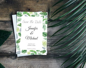 Tropical Save the Date Card, Printable Simple Save the Date, Tropical Wedding, DIY Bridal Stationary, Green Leaves Botanical Card, Greenery