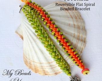 PDF Beading Tutorial, Beaded Bracelet Tutorial, Flat Spiral Bracelet Tutorial, Seed Bead Pattern, How to Bead a Bracelet, Beadwoven Pattern