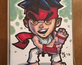 """Street Fighter 2 Ryu Marker Sketch Card - SF2 fan art - 4""""x6"""""""