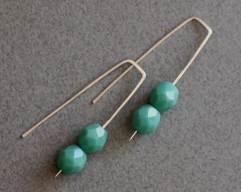 Modern Artisan Beaded Hand Forged Silver Wire Earrings, Green Turquoise Czech Bead and Sterling Silver Jewelry