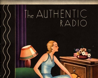 "Radio Ad Fashion Lady British Marconiphone ""the Authentic Radio"" Vintage Poster Repro FREE SHIPPING in USA"