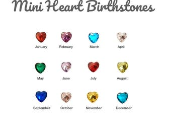 Birthstone Floating Charm for Glass Locket, 4MM SMALL HEART CRYSTAL Charms for Memory Lockets, Personalized Floating Locket Pendant Charm.