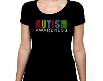 Autism Awareness RHINESTONE t-shirt tank top  Bling S M L XL 2XL - acceptance autistic accept understand understanding patience
