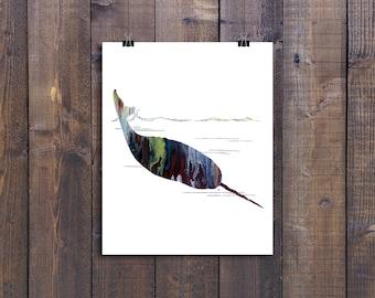 Narwhal, Whale Prints, Coastal Print, Coastal Wall Art, Beach Decor, Coastal Wall Decor, Printable Art, Digital Download, Watercolor Prints