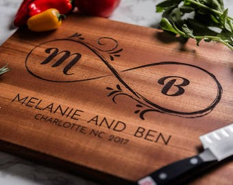 Monogrammed Custom Cutting Board, Personalized Infinity Wedding Gift for Couple, Engraved Engagement Gift, Anniversary Gift, Housewarming