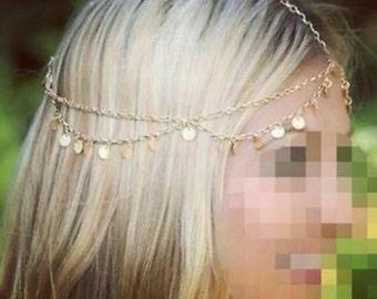 Gold Gypsy Head Chain, Gold Boho Head Chain, Bohemian head piece, Forehead Piece, Bridal Hair Piece, Festival Headband