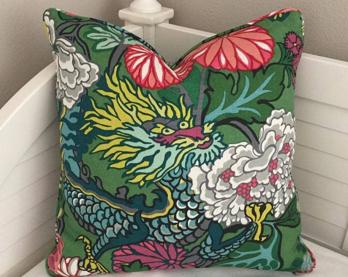 Schumacher Chiang Mai Dragon in Jade Designer Pillow Cover - Design on One Side or Both Sides