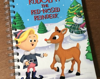 Rudolph the Red Nosed Reindeer Little Golden Book Upcycled Journal Notebook