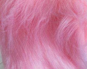 """Luxury Pink Faux Fur Fabric 19"""", Long Pile Faux Fur Craft, Newborn Photo Prop, Faux Fur Wrap"""