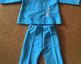 Vintage cornflower blue trouser suit - 12 months.