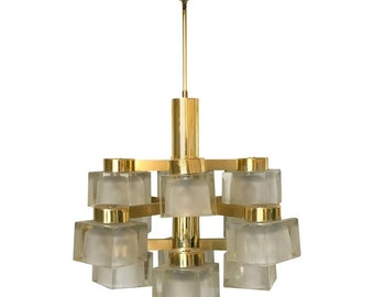 Large Gaetano Sciolari 13 Frosted Cube Brass Chandelier