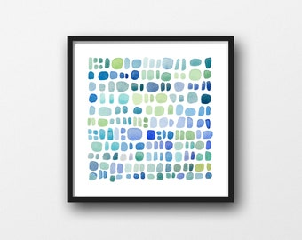 Pebbles, Digital print, DIY Printable Watercolor, Instant Download, Printable Wall Art,