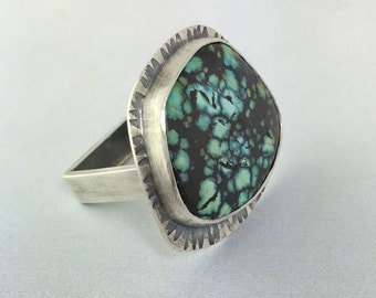 Natural Turquoise Sterling Silver Square Ring , OOAK, ready to ship, size 10