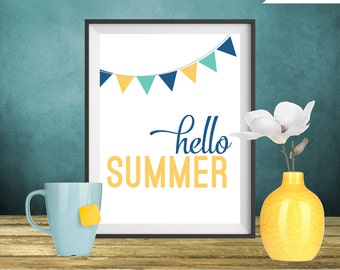 Summer Art Print - Hello Summer - Flags printable art wall decor, poster - Instant Download