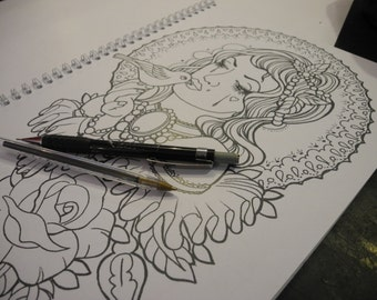 lady and bird colouring page