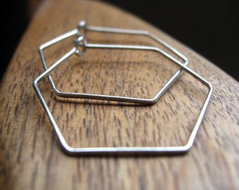 geometric hoop earrings. sterling silver hoops. silver wire jewelry. hexagon earrings.