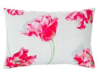Beige Linen Ground with Pink Flowers