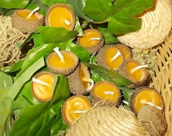 30 Floating Acorn Cap Candles Beeswax Woodland Southern Weddings Parties Occasions